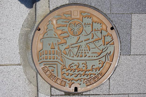 s5891_堺市マンホール_市制100周年_平成元年_緑色