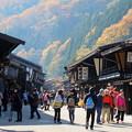 写真: 紅葉の奈良井宿
