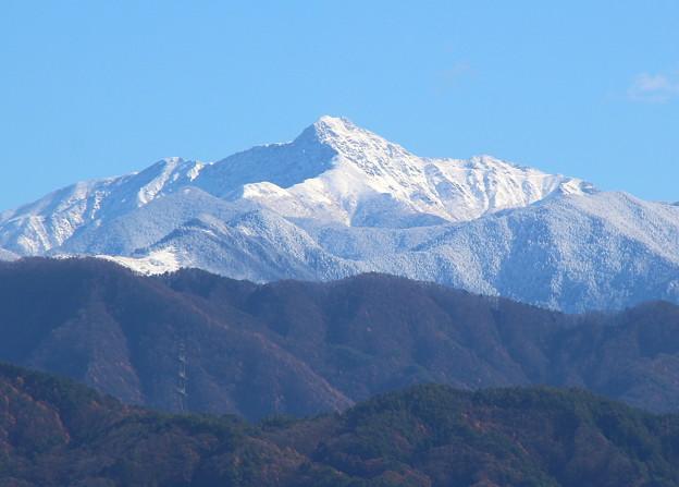 冠雪の塩見岳