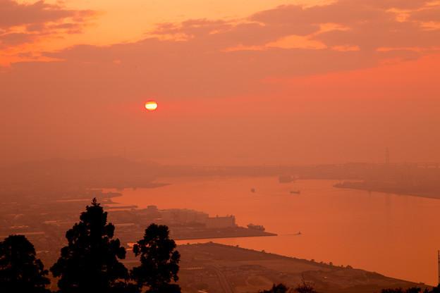 五色台の夕陽