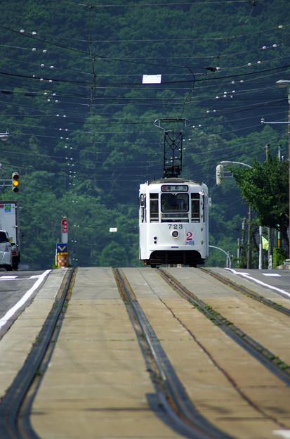 函館市電 青柳町の丘越え
