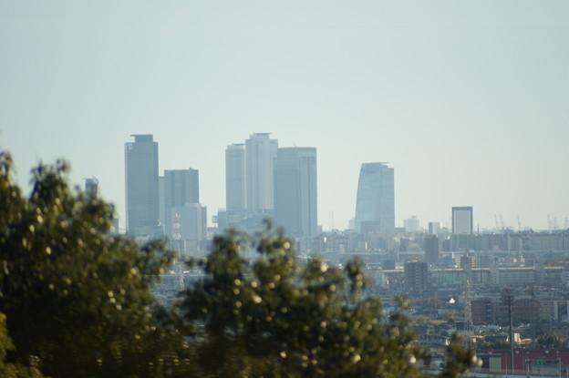 小牧山から望む名古屋駅前ビル 300mm