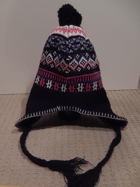 ノルディック柄 耳あて付きニット帽(黒)