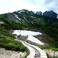 雪渓の先八方池