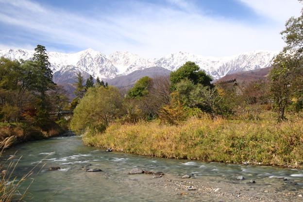 姫川の吊り橋の白馬三山2