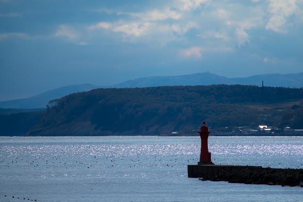 写真: 防波堤のキラキラ