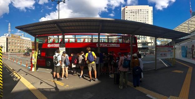 regular sightseeing double-decker tour bus Maple Sky めいぷるスカイ Hiroshima station shinkansen entrance