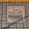 広島電鉄 本線 的場町電停 安全地帯 路面電車タイル 広島市南区的場町1丁目