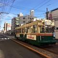 写真: 広島電鉄 天満町電停 1900形 ますやみそ車外広告 広島市西区天満町