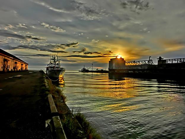 写真: 小樽港、朝