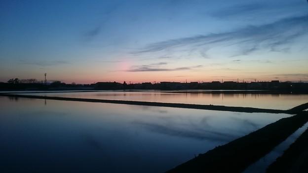 五月十八日 水田に写る夕空