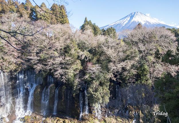 滝と富士山