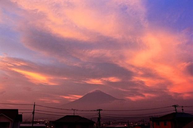 7月3日富士宮市からの夕方富士山~ 予想外の夕焼けでした(^ ^)