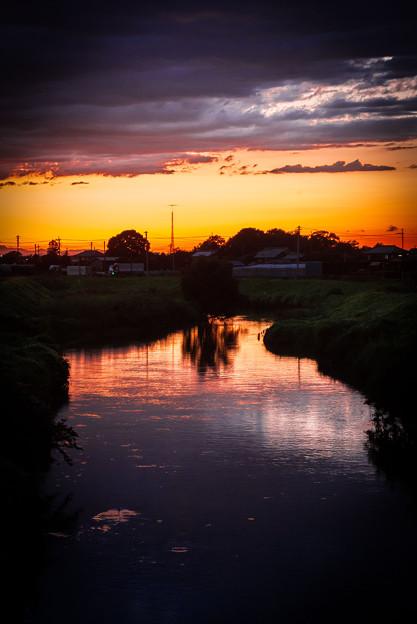 川と夕焼け@白岡