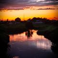 写真: 川と夕焼け@白岡