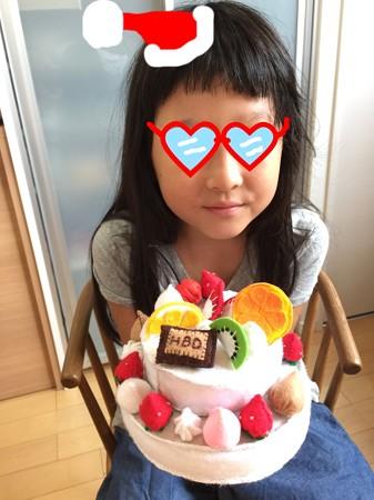 2017.08.28 姫 夏休み作品 フエルトでケーキ