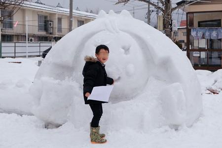 2018.01.23 田沢湖駅 たっこちゃんの雪だるま