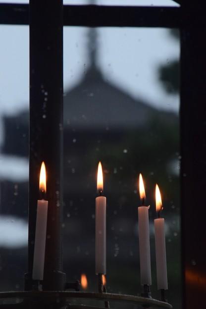 小雨の中の興福寺五重の塔