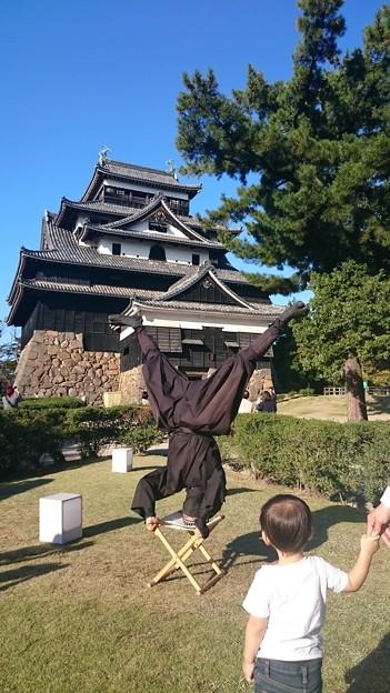 松江城の忍者とじっと見つめる男の子 1