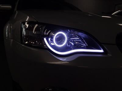 アウトバック 東京都 ヘッドライト加工 イカリング&NEWアウディ風LED ホワイト