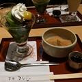 祇園小石の抹茶ミニパフェとミニわらび餅セット