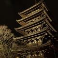 写真: 八坂の塔もライトアップ、2014