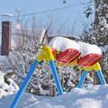 写真: 雪のブランコ
