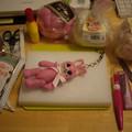 ピンクのうさちゃんストラップ
