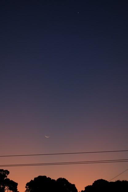 写真: 月と水星・金星
