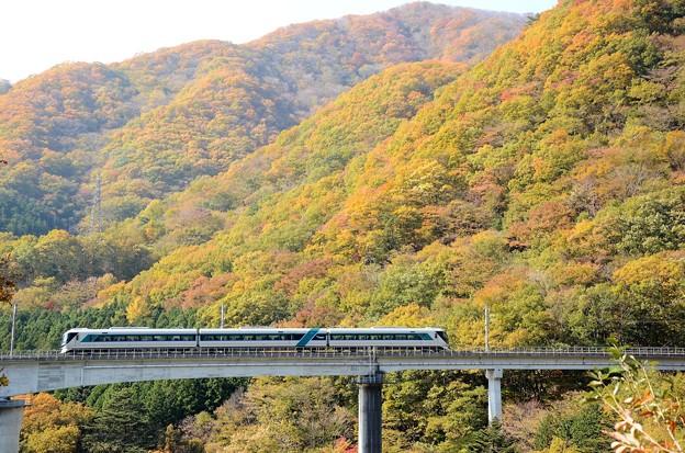 秋色の会津鬼怒川線を行くリバティ会津111号