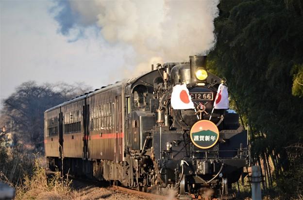 C12 66牽引SLもおか新年号 日章旗・謹賀新年HM付き