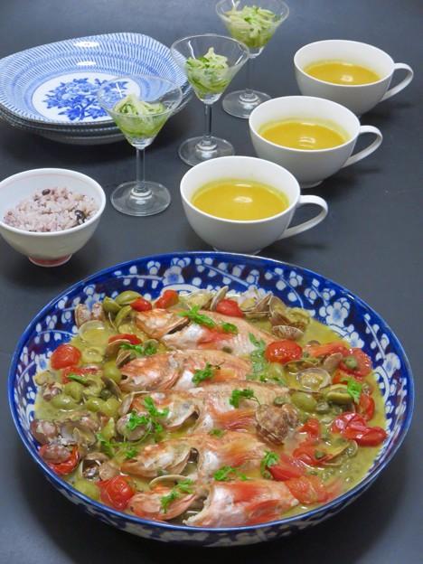 9月19日今晩は、アヤメカサゴのアクアパッツァ、切り干し大根のマリネ、パンプキンポタージュ、雑穀黒米ご飯