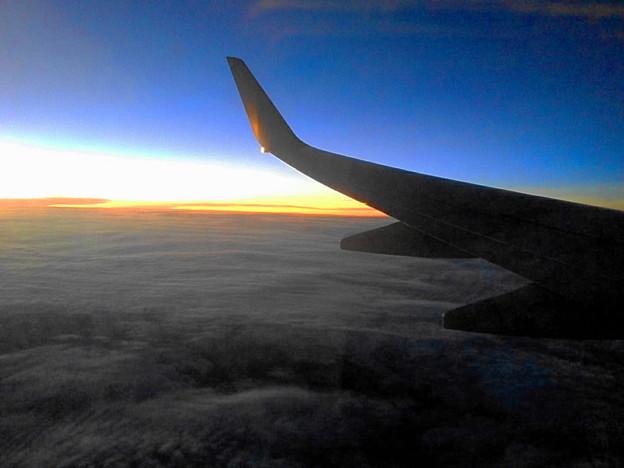 機内から夕焼け