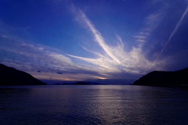 夕陽は見えず、ただ幻日のみ