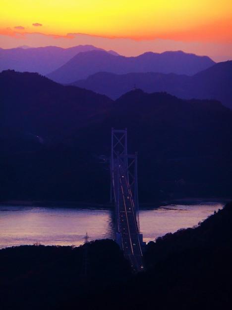 しまなみ海道夕景色~師走の因島大橋・布刈の瀬戸~