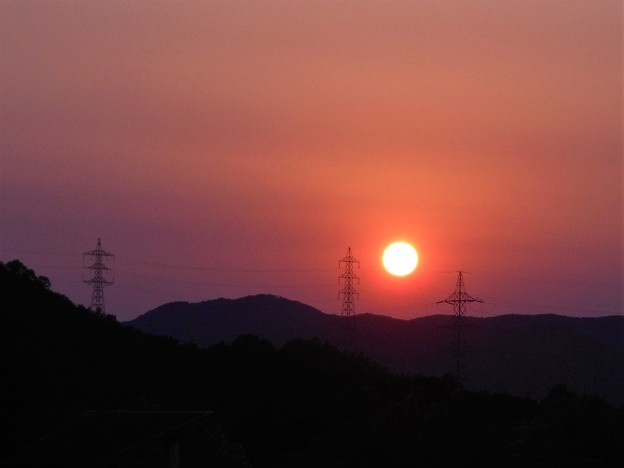 初夏の夕陽@備後路・平木山