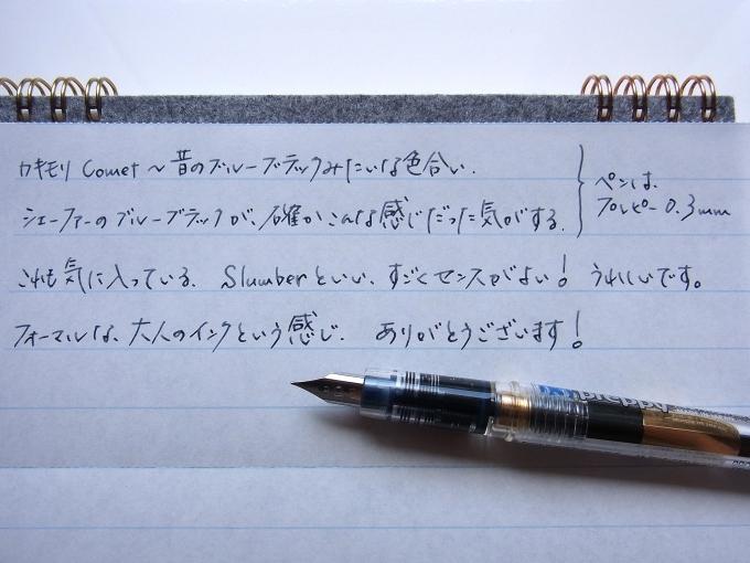 Cometを入れたプレピー 0.3mmで榛原蛇腹便箋に落書きの図