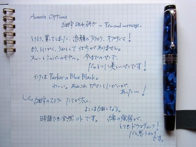 AURORA オプティマ ブルー 細字(スタブ) + PARKER BB + トモエリバー #1
