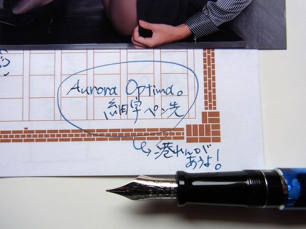 AURORA オプティマ ブルー 細字(スタブ) + PARKER BB + 港煉瓦 #1