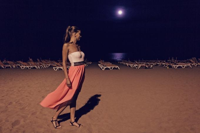 月夜の浜辺