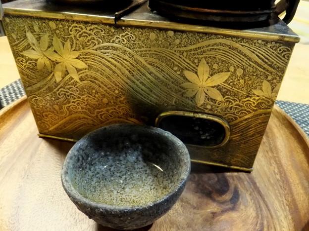 秋模様の燗銅壺