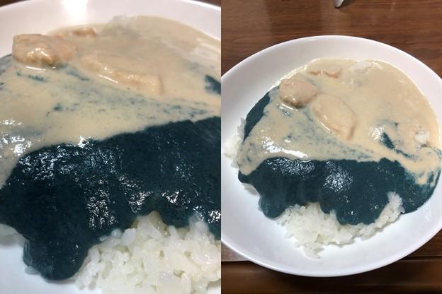 青いカレー(゜○、゜)