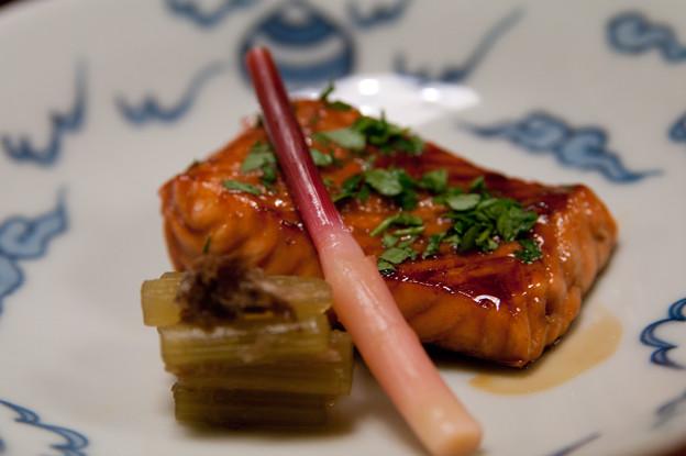 焼肴:桜鱒木の芽焼 蕗土佐煮 はじかみ