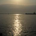 写真: 輝く海と貨物船