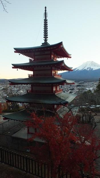 五重の塔と紅葉と富士山2