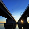 写真: 琵琶湖大橋の朝陽
