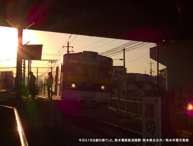 今日も1日お疲れ様でした・・・と思わず言いたくなるような新須屋駅の夕景。