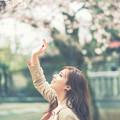 写真: 桜と笑顔