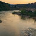 写真: 信濃川夕景