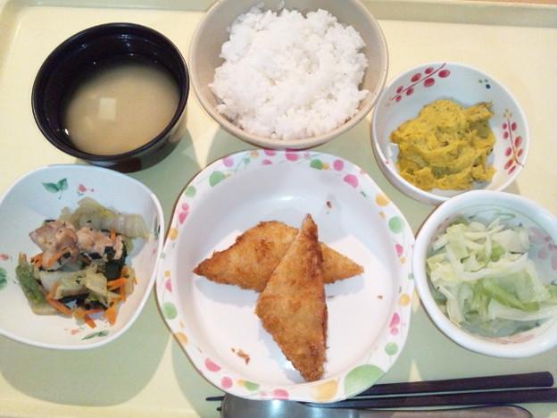 9月25日夕食(白身魚フライ) #病院食